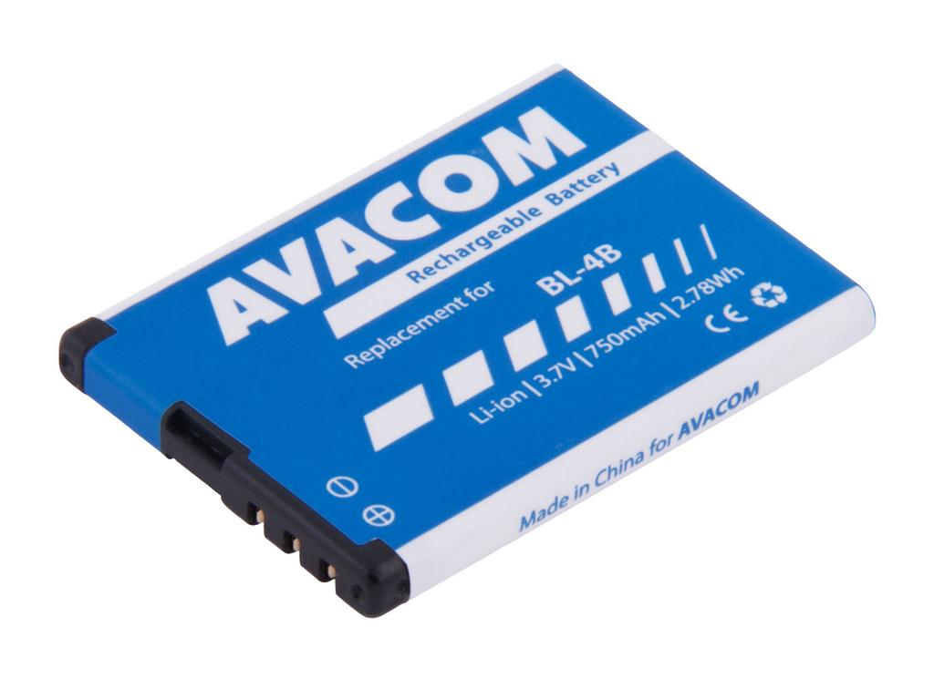 AVACOM GSNO-BL4B-S750 Li-Ion 3,7V 750mAh - neoriginální - Baterie do mobilu Nokia 6111 Li-Ion 3,7V 750mAh (náhrada BL-4B)