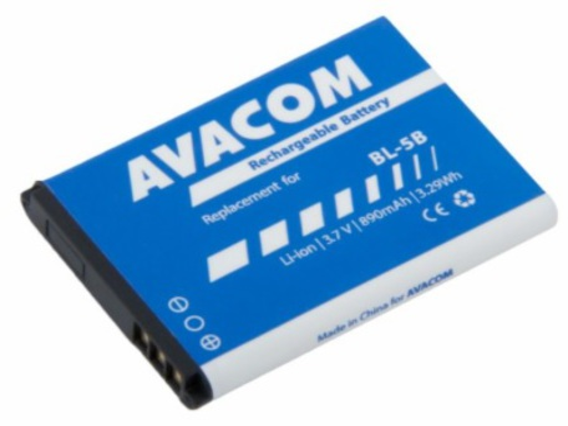 AVACOM GSNO-BL5B-S890 Li-Ion 3,7V 890mAh - neoriginální - Baterie do mobilu Nokia 3220, 6070, Li-Ion 3,7V 890mAh (náhrada BL-5B)