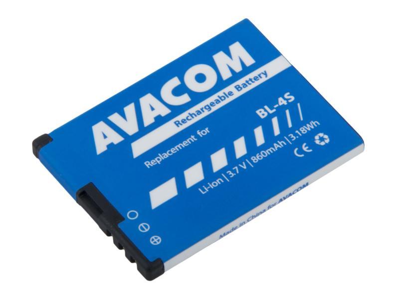 AVACOM GSNO-BL4S-S860 Li-Ion 3,7V 860mAh - neoriginální - Baterie do mobilu Nokia 3600 Slide, 2680 Li-Ion 3,7V 860mAh (náhrada BL-4S)