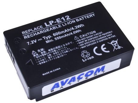 AVACOM DICA-LP12-345 Li-Ion 7.4V 600mAh - neoriginální - Baterie Canon LP-E12 Li-Ion 7.4V 600mAh 4.3