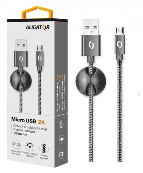 ALIGATOR PREMIUM Datový kabel 2A, Micro USB černý (DATKP01)