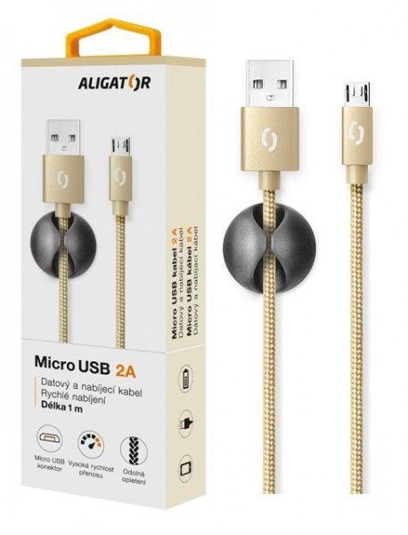 ALIGATOR PREMIUM Datový kabel 2A, Lightning zlatý (DATKP06)