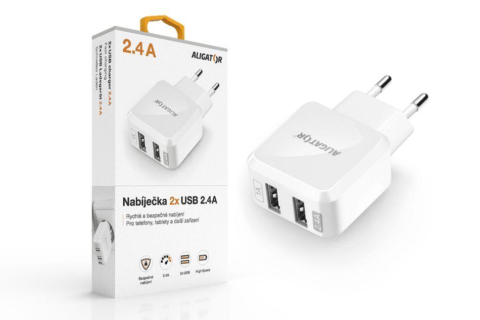 Aligator síťová nabíječka Turbo charge, 2xUSB výstup 2,4A, bílá CHA0008