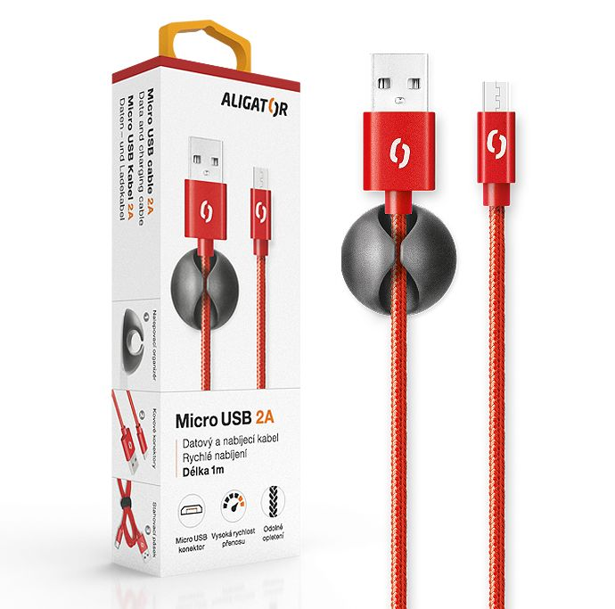 Aligator Datový kabel premium 2A,MicroUSB,červený DATKP10