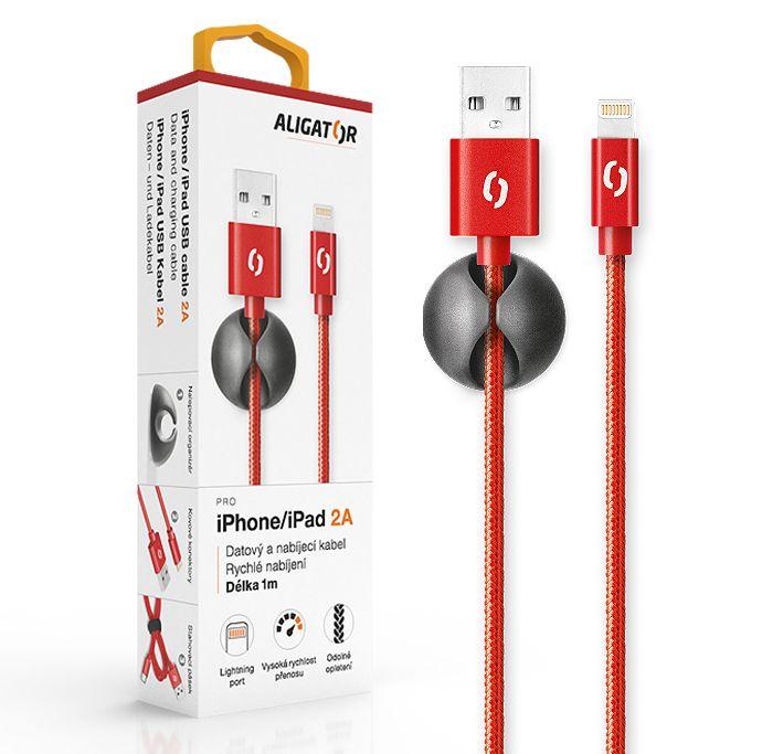 Aligator Datový kabel premium 2A, Lightning, červený DATKP11