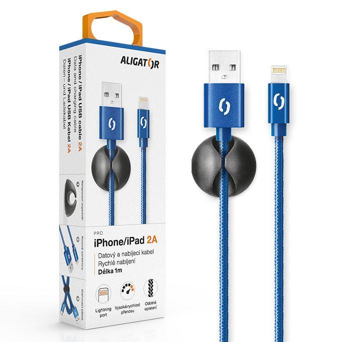 Aligator Datový kabel premium 2A Lightning, modrý DATKP14