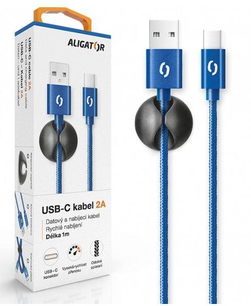 Aligator Datový kabel premium 2A, USB-C, modrý DATKP15