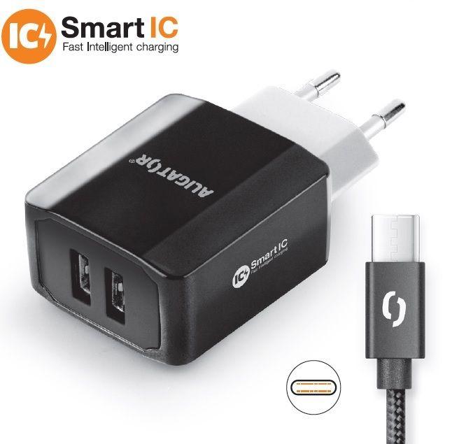 Aligator Chytrá síťová nabíječka, USB-C, 2xUSB výstup, 3.4A, černá