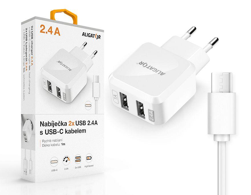 Nabíječka Aligator USB-C s 2xUSB výstupem 2,4A, Turbo charge, bílá CHA0018