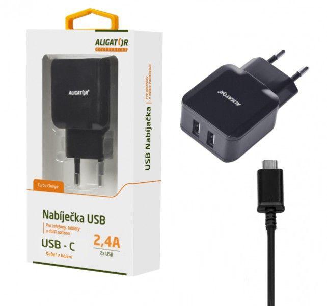 ALI CN 2,4A,2xUSB,USB-C,černá CHA0014 - Nabíječka Aligator CHA0014 - neoriginální