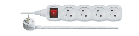 EMOS P1415 Prodlužovací kabel bílý s vypínačem 4 zásuvky 5m