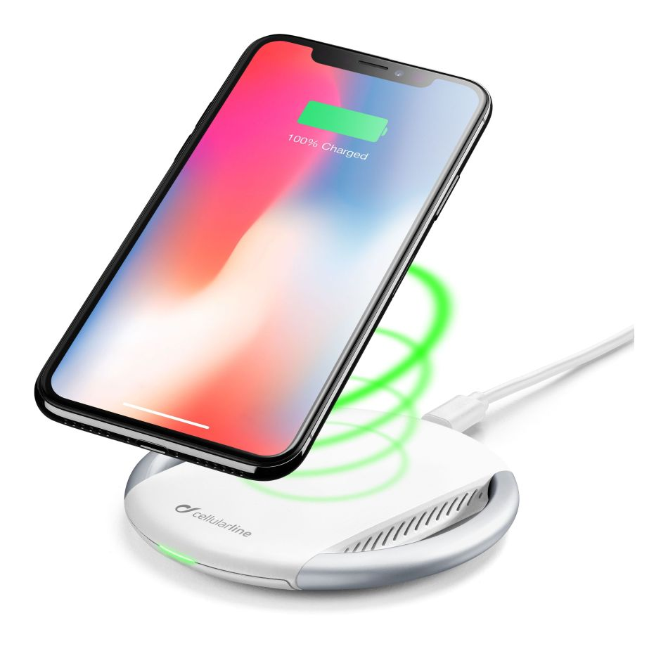 CellularLine WIRELESS FAST CHARGER STAND, Qi standart, bílý WIRELESTANDIPHW - Cellularline WIRELESTA