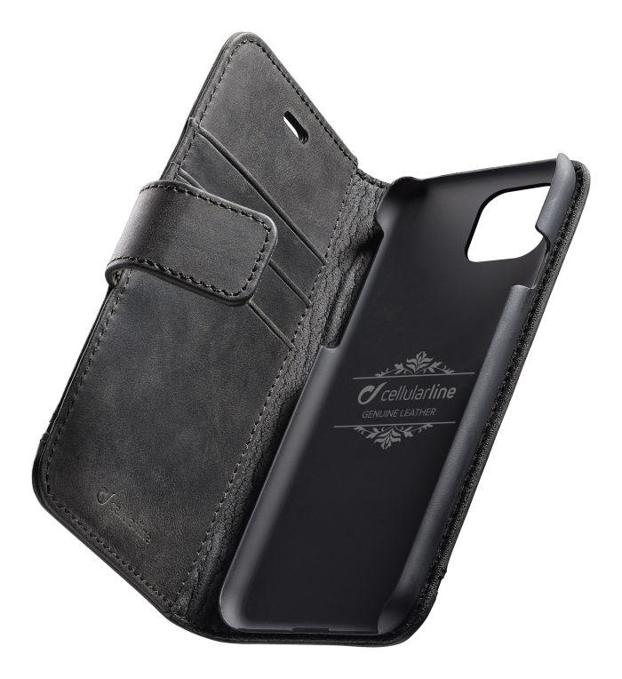 CellularLine Prémiové kožené pouzdro typu kniha Supreme pro Apple iPhone 11, černé