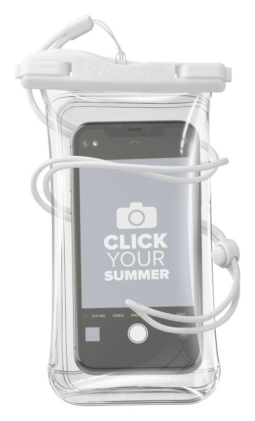 Vodotěsné univerzální pouzdro pro mobilní telefony Cellularline Voyager, bílé