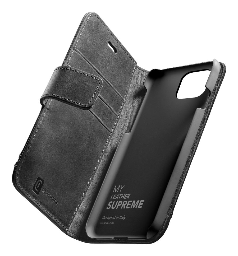 Prémiové kožené pouzdro typu kniha Cellularine Supreme pro Apple iPhone 12 mini, černé