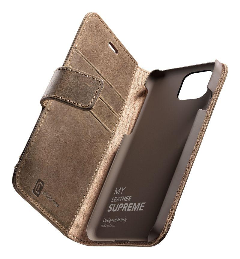 Prémiové kožené pouzdro typu kniha Cellularine Supreme pro Apple iPhone 12 mini, hnědé