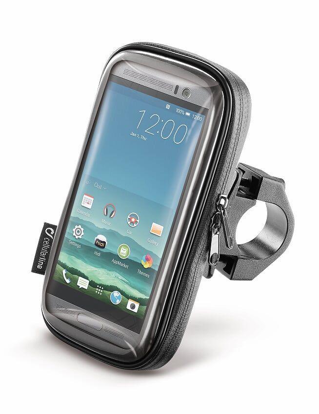 """Voděodolné pouzdro Interphone SMART pro telefony do velikosti 5.2"""", úchyt na řídítka, černé - Cellularline datový kabel s konektorem Lightning"""