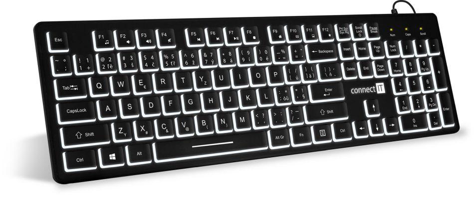 Connect IT kancelářská podsvícená klávesnice, CZ/SK (CKB-4041-CS)