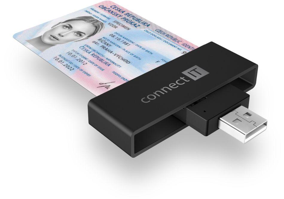 Connect IT USB čtečka eObčanek a čipových karet CFF-3000-BK, černá