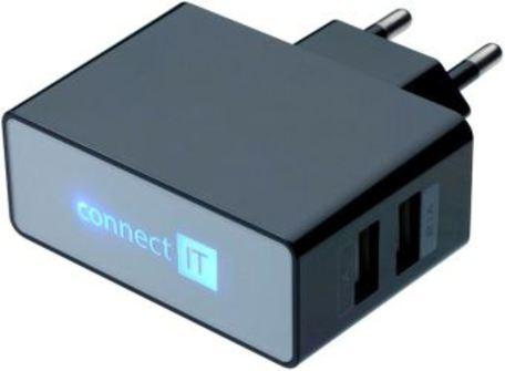 CONNECT IT CI-153 adapt.230V-2xUSB černý