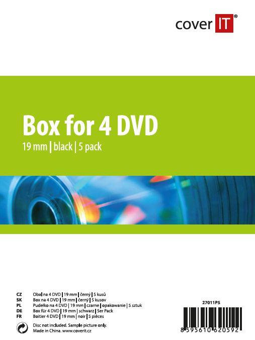 Cover IT Krabička na 4ks - černá, 19mm, 5ks/bal