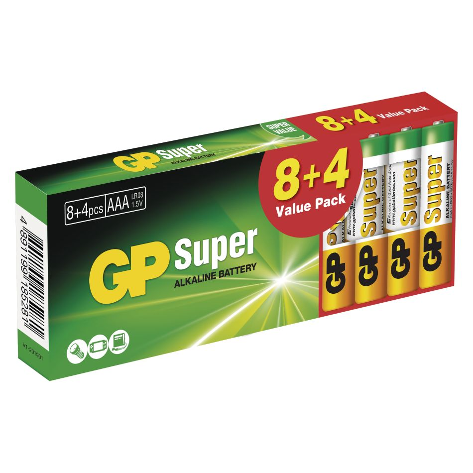GP Super Alkaline AAA/LR03 8+4 ks