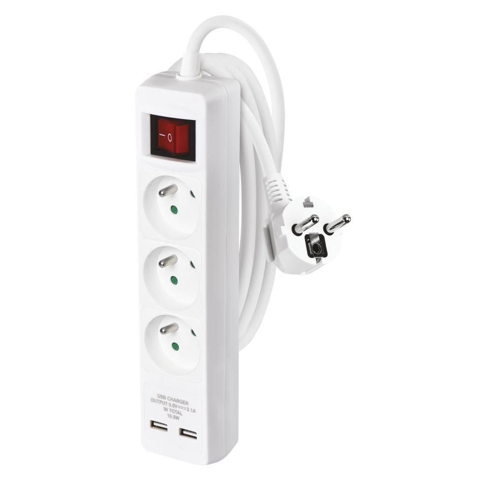 Emos Prodlužovací kabel s vypínačem – 3 zásuvky, 2m, bílý + 2xUSB