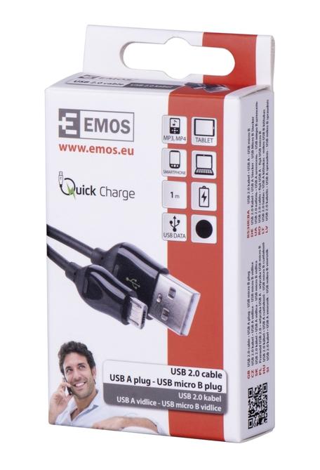 Emos SM7004B USB 2.0A/M-micro B/M 1M B - Emos SM7004B USB 2.0 A/M - micro B/M, 1m, černý