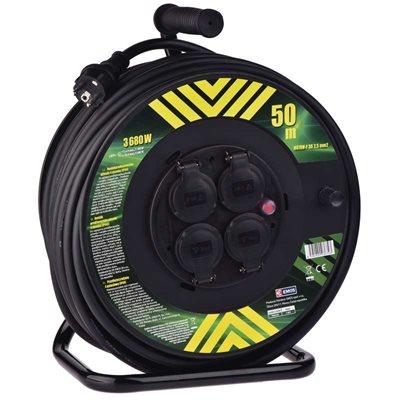 EMOS gumový prodlužovací kabel na bubnu - 4 zásuvky 50 m, 2,5 mm