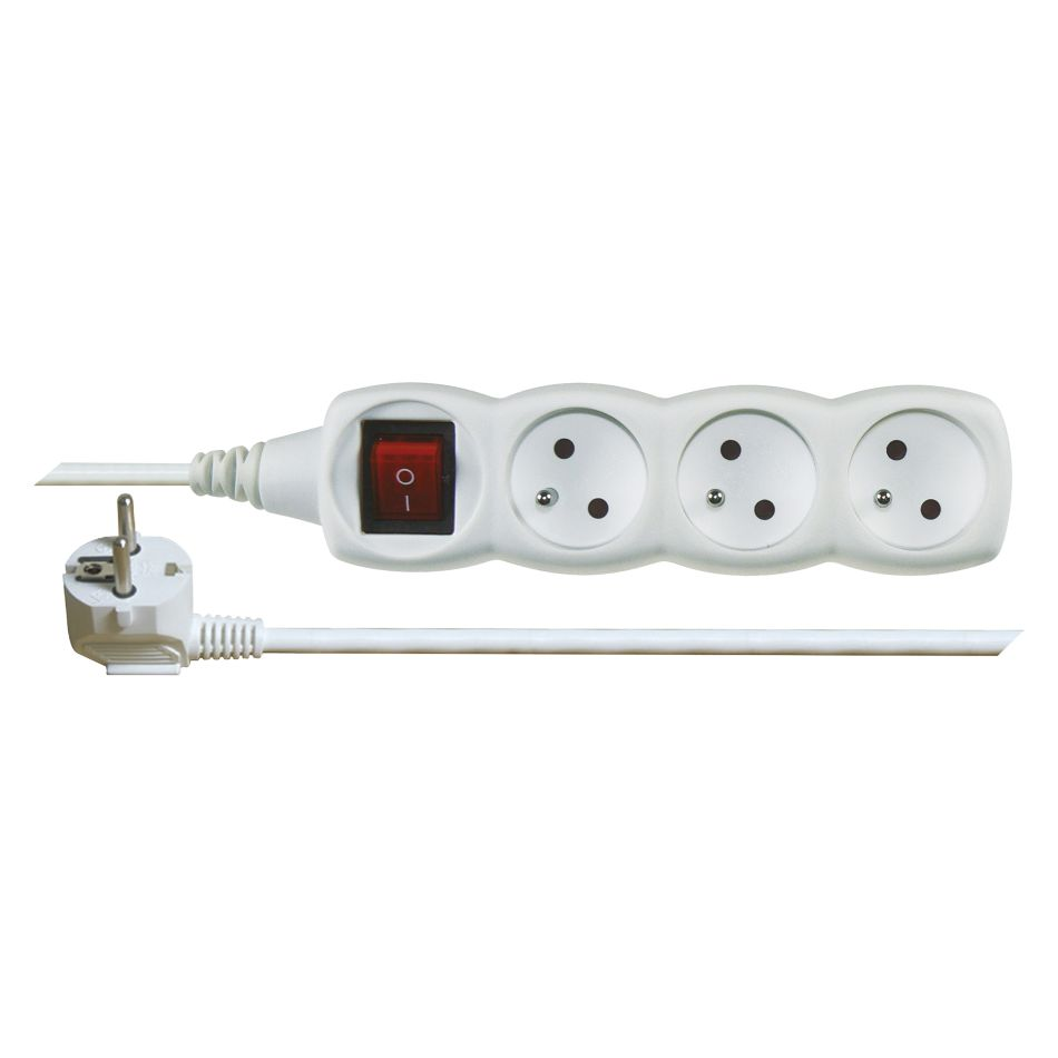 Emos Prodlužovací kabel s vypínačem – 3 zásuvky, 1,5m, bílý