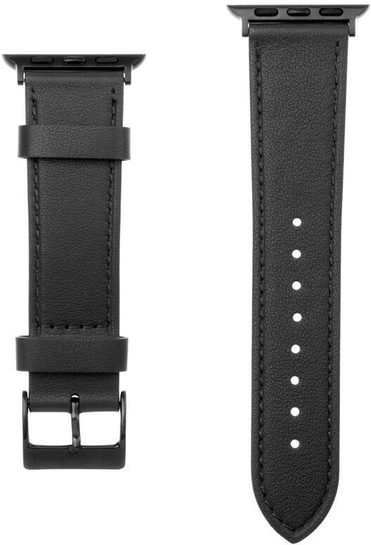 Kožený řemínek Fixed Leather Strap pro Apple Watch 42/44/45 mm, černý