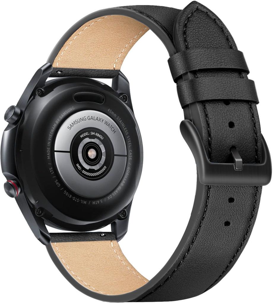 Kožený řemínek Fixed Leather Strap s šířkou 22mm pro smartwatch, černý