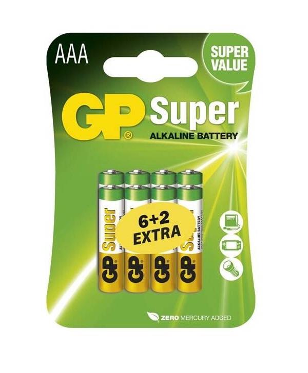 GP B13118 LR03 6+2BL - Baterie GP Super Alkaline AAA 8ks