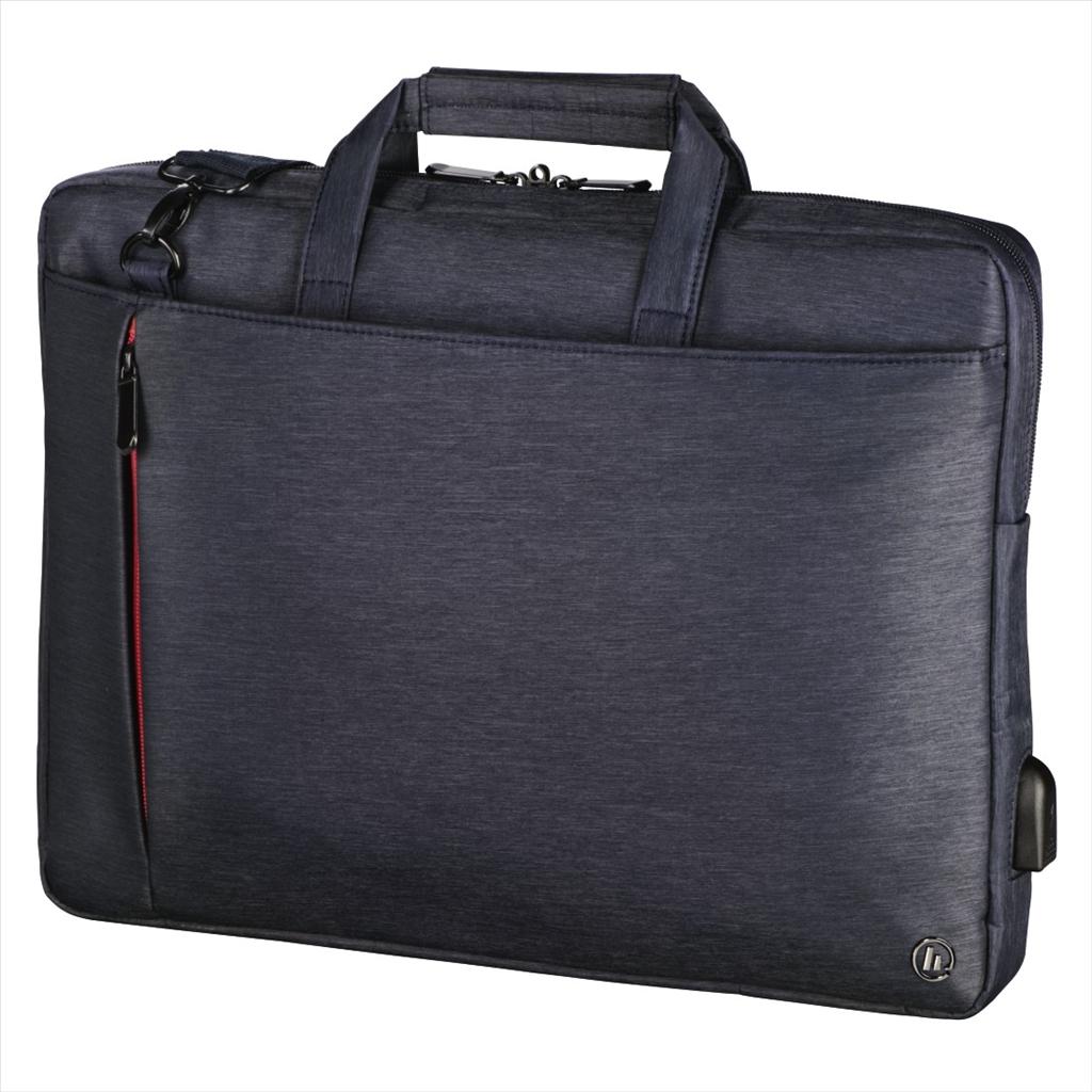 """Hama taška na notebook velikost: 44 cm (17,3"""") Manchester s integrovaným USB kabelem, modrá"""