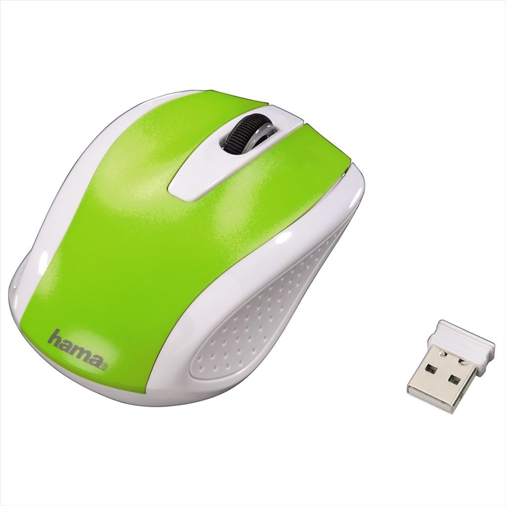 Hama bezdrátová optická myš AM-7200, bílo-zelená - Hama AM-7200 86535