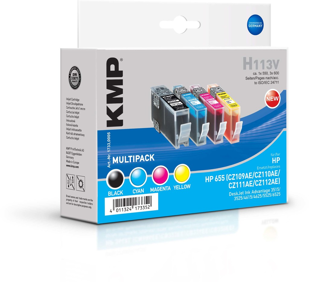 KMP H113V (HP 655 BK/C/M/Y) - HP 655 - kompatibilní