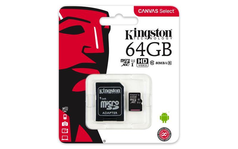 Kingston MicroSDXC 64GB UHS-I U1 + SD adaptér