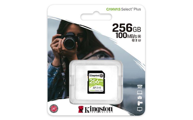 Kingston Canvas select plus microSDXC 256GB Class 10 + SD adaptér - Kingston Canvas Select Plus microSDXC 256GB SDCS2/256GB