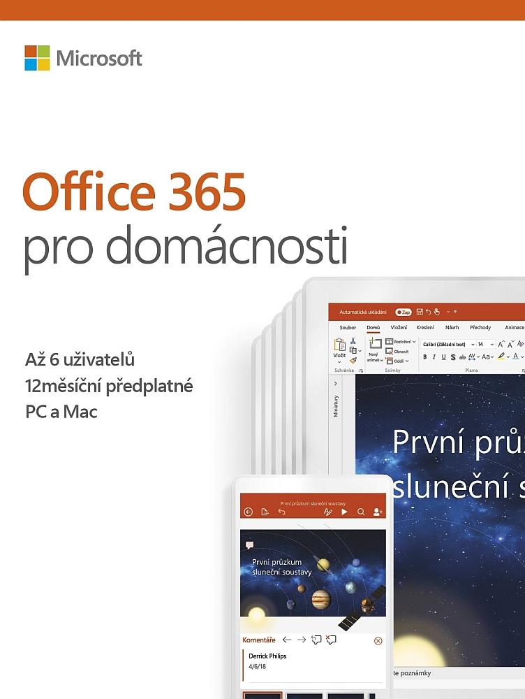 Microsoft Office 365 pro domácnosti 32-bit/x64 CZ - předplatné na 1 rok - 6GQ-00898