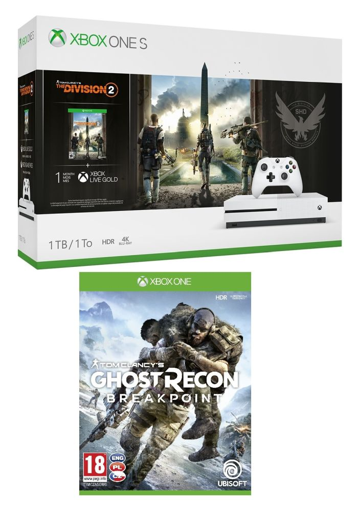XONE S 1TB + Division2 + GhostReconBreakpoint