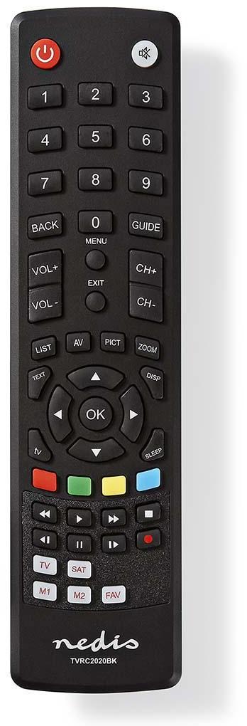 Nedis TVRC2020BK - Univerzální dálkový ovladač | Předem naprogramovaný | Ovládání 2 Zařízení