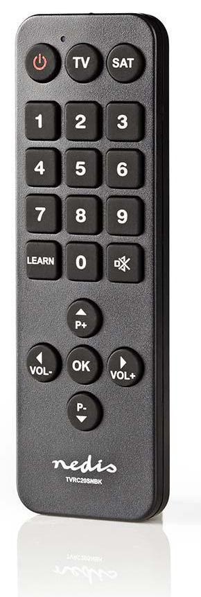 Nedis TVRC20SNBK - Univerzální dálkový ovladač | Velká Tlačítka | Předem naprogramovaný | Ovládání 2 Zařízení