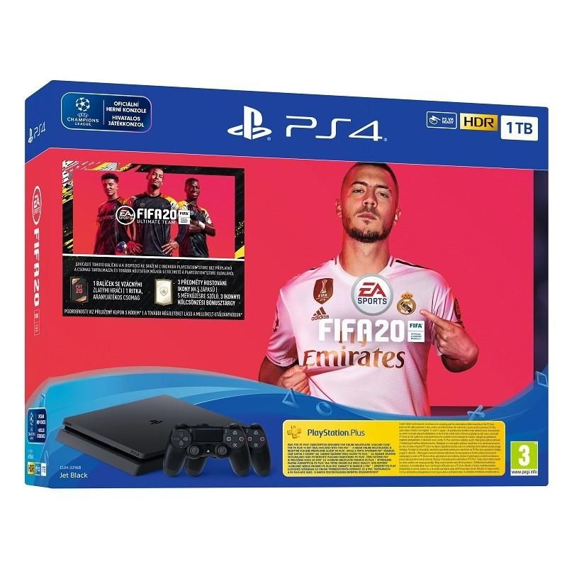 PlayStation 4 Slim 1TB + FIFA 20 + 2x DS4 ovladač