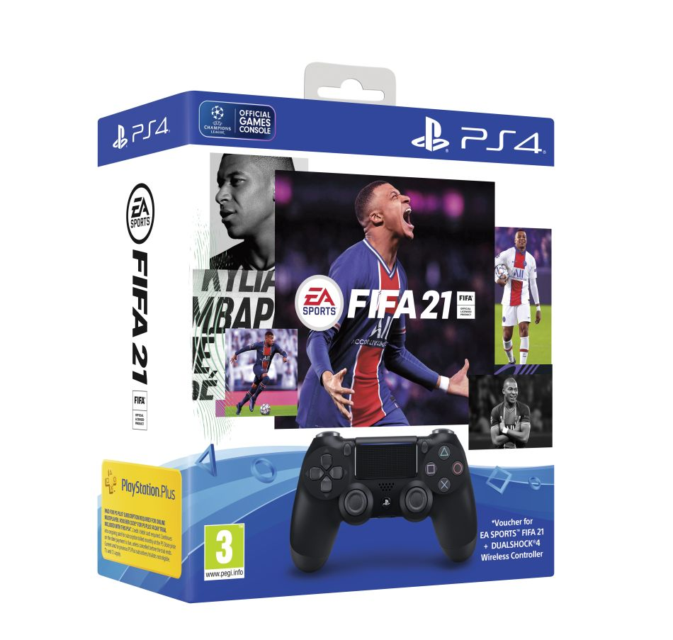 Sony PS4 Dualshock 4 V2 - Black + FIFA 21