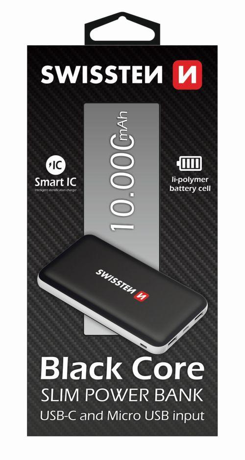 Swissten Black Core Slim Power Bank 10000 mAh USB-C INPUT