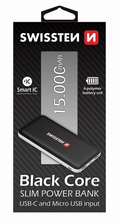 Swissten Black Core Slim Power Bank 15000 mAh USB-C INPUT
