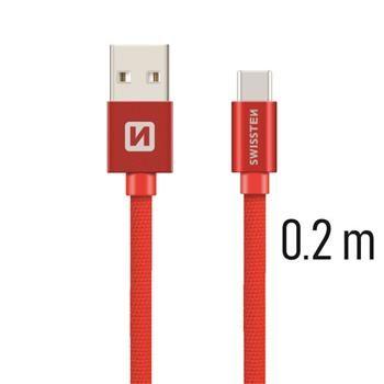 kabel Kabel Swissten Textile Usb-c 0,2M Červený