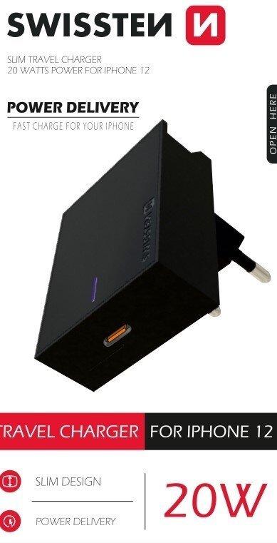 Swissten Síťový adaptér PD 20 W pro iPhone 12, černý 22050500