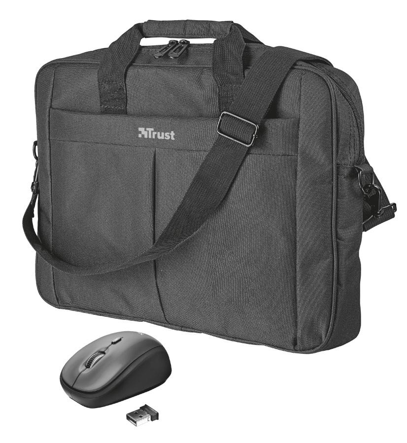 """TRUST Primo 16"""" taška a bezdrátová myš - Pouzdro Trust 21685 16'' black"""