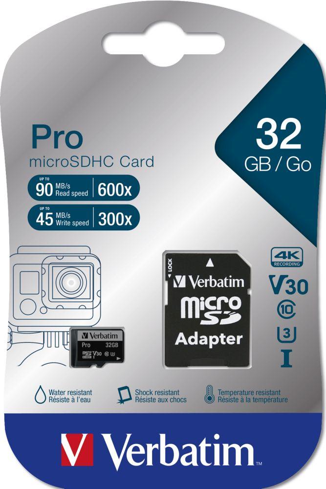 Verbatim microSDHC Pro UHS-I 32 GB (47041) + SD adapter